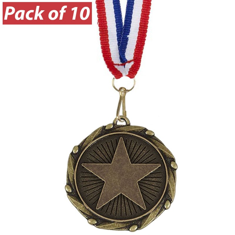 Pack of 10 Star Combo Medals