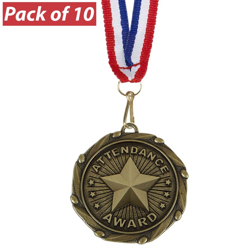 Pack of 10 Attendance  Combo Medals
