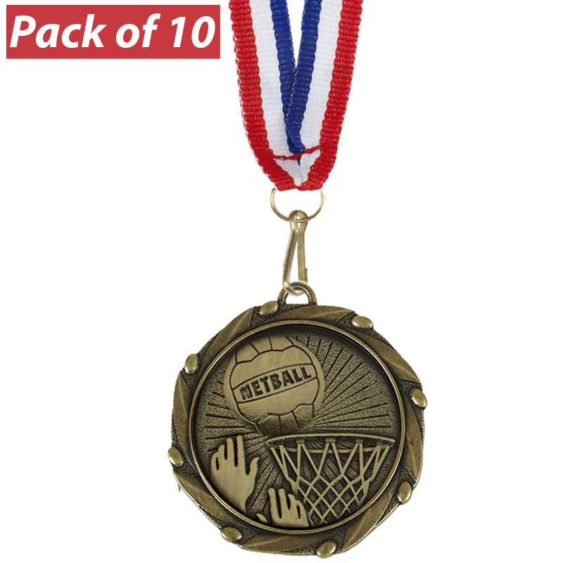 Pack of 10 Netball Combo Medals