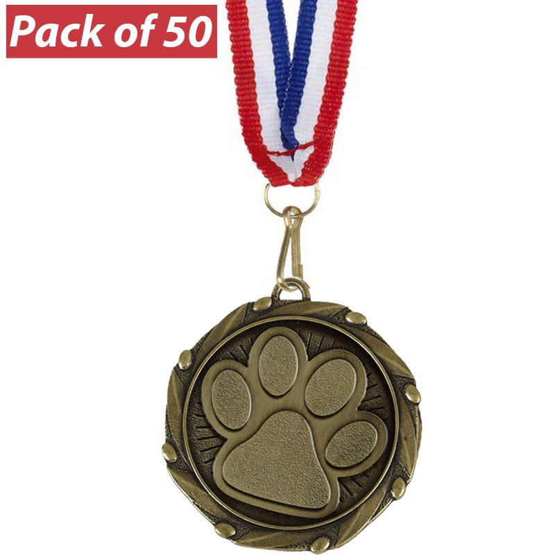 Pack of 50 Dog/Cat Paw Combo Medals