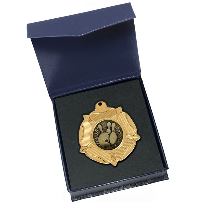 Gold Ten Pin Bowling Medal in box