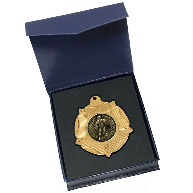 Gold Female Football Medal in box