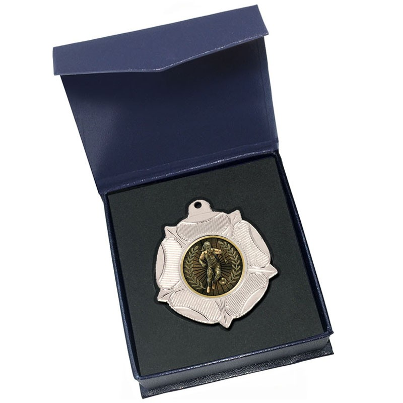Silver Female Football Medal in box