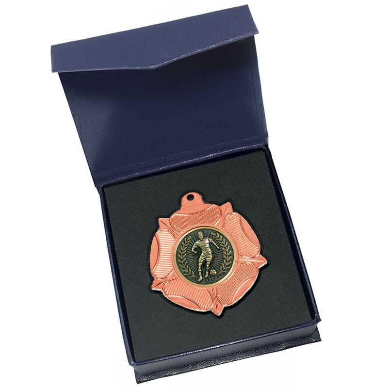 Bronze Football medal in box