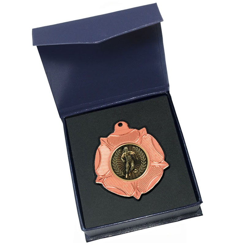 Bronze Female Football medal in box