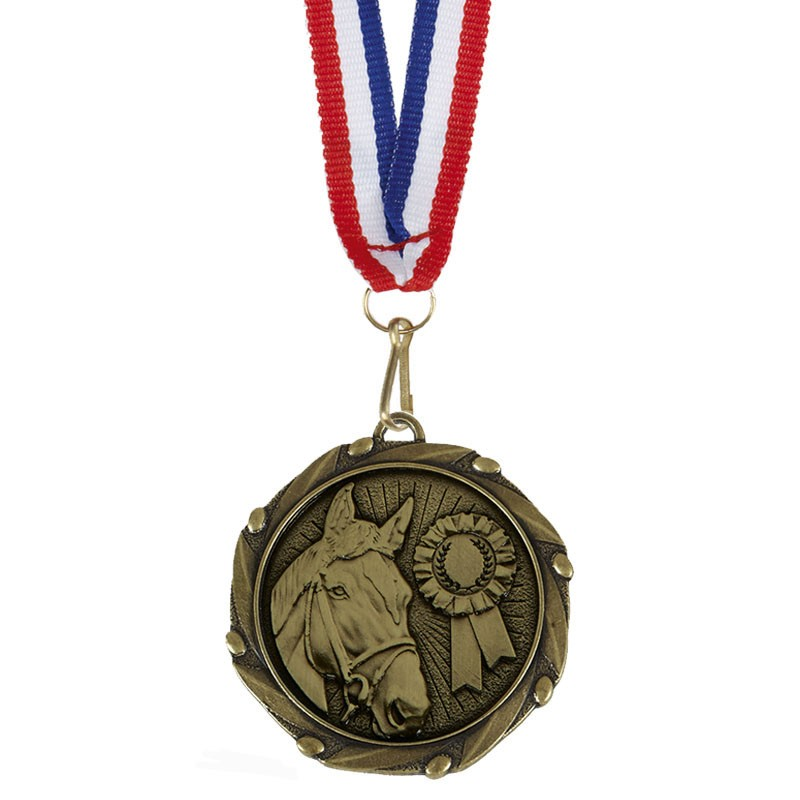 COMBO Horse Medal with 10mm R/W/B R