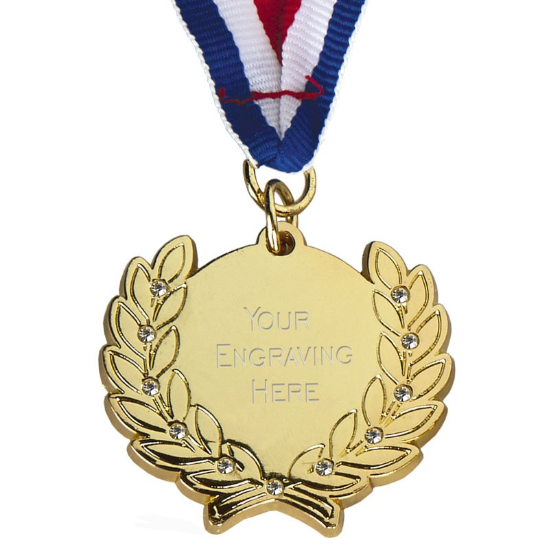 Diamond Bling Medal with Ribbon