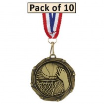 Pack of 10 Basketball Combo Medals