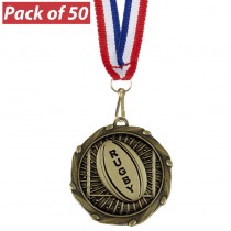 Pack of 50 Rugby Ball Combo Medals