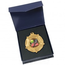 Gold Tennis Medal in box
