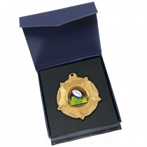Gold Rugby Ball Medal in box