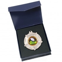 Silver Rugby Ball Medal in box