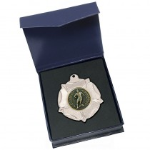 Silver Football Medal in box
