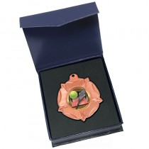 Bronze Tennis medal in box