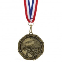 COMBO Netball Medal with 10mm R/W/B